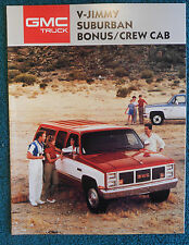 New listing 1987 Original Gmc Suburban V - Jimmy Sales Brochure Crew Cab & 87 Epa sheet