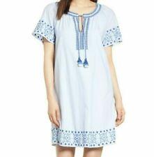 VINEYARD VINES Sea Spray Stripe Tassel Embroidered Shift Dress Small NWT $148
