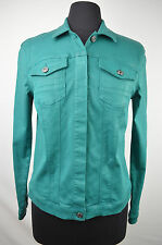 [75 73] SEVEN 7 FOR ALL NWT GREEN BUTTON UP WAXED DENIM JEAN JACKET SIZE: MEDIUM
