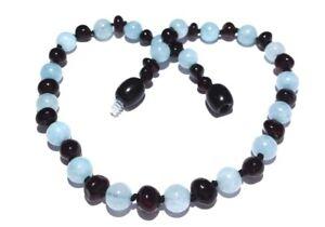 Child Blueberry Cherry Baltic Amber Blue Aquamarine Necklace Love Amber x UK