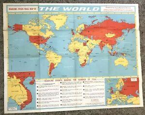 Vintage World Map Headline Focus School World Map 1966 Scholastic Magazine