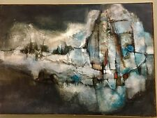 Max Gunther Mid Century Emaes Abstract Cityscape Brutalist Oil Painting