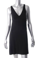 CHAIKEN ~Black Soft Jersey V-Neck Empire Flare Back Tank Shift Dress XS NEW $256