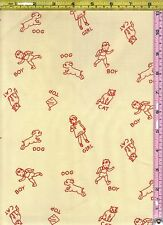 Cream Children Chalk Drawing Red Rooster Cotton Fabric 1/4 yard 22.5 cm off bolt
