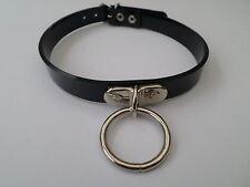 "black  pvc fetish bondage slave collar with 25mm o ring 16mm wide 15-18"" neck"