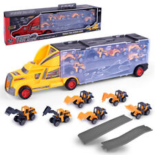 Die-cast Construction Truck Vehicle Car Toys Set Play Vehicles in Carrier Truck