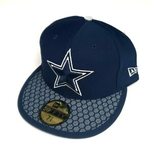 New Era Dallas Cowboys NFL 59Fifty OF Sideline Fitted Hat Navy Size 7 1/4, 7 1/2