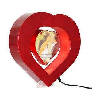 Red Heart Shape Floating Photo Frame LED Light Magnetic Levitation Picture Frame