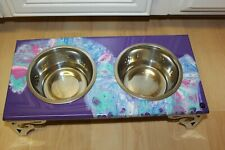 Raised Dog-Cat Feeding Table with 1QT Bowls - PURPLE, PINK & BLUE