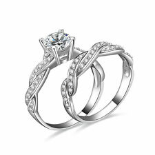 Engagment Ring Guard Set Size 3-12 Ss028 2Pc 925 Sterling Silver Wedding Band Cz
