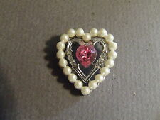 AVON HEART SHAPED PENDANT WITH FAUX PEARL, RHINESTONES AND PINK CENTER STONE