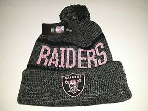 Las Vegas Raiders Breast Cancer Awareness Pink Cuffed with Pom Knit Hat