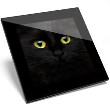 1 x Cute Spooky Yellow Eyed Black Cat Glass Coaster - Kitchen Student Gift #8423