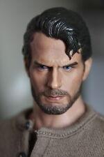 1:6 Henry Cavill Bearded Man Head Sculpt Man of Steel Superman F Hot Toy Body