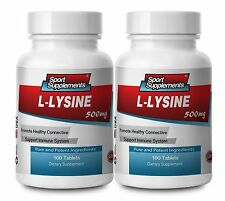 L-Lysine Amino Acid 500mg (2 Bottles, 200 Tablets)
