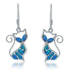 Vintage Womens Retro Blue Imitation Opal Cat Dangle Ear Hook Earrings Jewelery