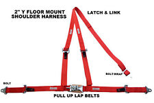 Three Point Seat Belt Race Harness 2 Latch Amp Link Pull Up Lap Belts Red