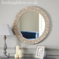 75cm x 75cm Large Round Ornate Fleur Wall Mirror - Fawn