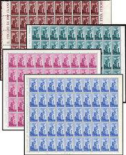 ITALIA REPUBBLICA 1948 - Campidoglio, 50 serie 4 valori filigrana ruota in fogli