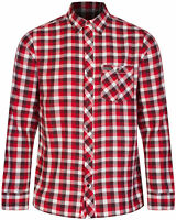 Regatta Lazka Casual Check Mens Long Sleeve Shirt Red White 100% Cotton