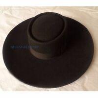 Unisex 100% Wool Fedora Trilby Hat Cap Retro Wide Brim Felt Black Casual Fashion