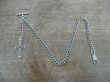 vintage type silver colour cross single albert pocket watch chain no2