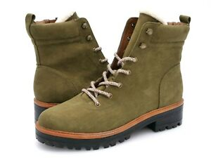Marc Fisher Womens 8.5M Incline Dark Green Side Zip Lace Up Combat Hiking Boots