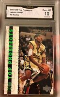 Lebron James ROOKIE 2003 Upper Deck Top Prospects High School Irish Gem Mint 10