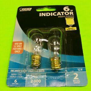 2 PACK 12 VOLT Feit Electric 6w Watt Indicator 12V appliance Screw in Light Bulb