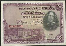1928 Bank of spain 50 cincuenta pesetas madrid currency note 75c paper money