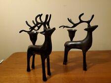 Rustic Black Metal Decorative Deer Stag Buck Reindeer Candle Holders Christmas