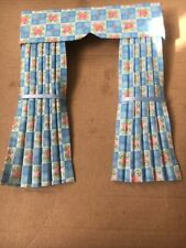 Pretty 1/12 Scale Dolls House Curtains - Blue Square And Rose Floral
