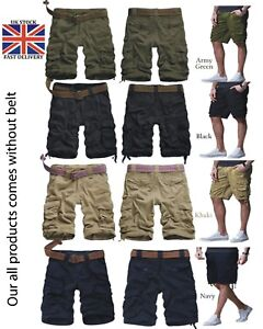 Men's Army Twill Combat Pants 6 Pockets Causal Trouser & Cargo shorts All Sizes