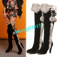 New Womens Real Fox Fur Trim High Heel Suede Leather Warm Over Knee High Boots