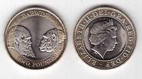 UK UNITED KINGDOM – BIMETAL 2 POUNDS COIN 2009 YEAR KM#1115 CHARLES DARWIN