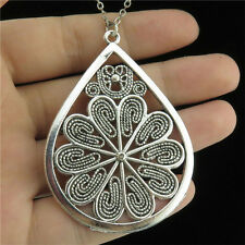 "3-3 18"" Silver Chain Collar Chunky Necklace Alloy Teardrop Inlay Flower Pendant"