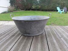 Ancien décoration  jardin bassine chaudron jardiniere en zinc galva pot a fleur