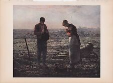 "1939 Vintage ""THE ANGELUS"" by MILLET FARMERS PRAYING Color Art Plate Lithograph"