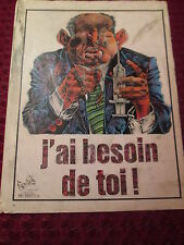 ART PRINT AFFICHETTE PROPAGANDA ANTI DROGUE 1970'STYLE FACE OF DEATH/TOTENKOPF