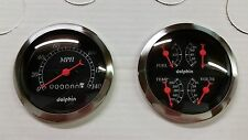DOLPHIN 3 3/8 QUAD BLACK MECH STREET ROD GAUGE SET  HOT ROD, UNIVERSAL