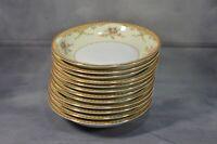 Set Of 12 VTG Meito China Derby Pattern Ceramic Cereal Bowl Plate Japan 7 5/8''