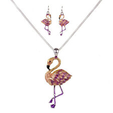 "Large Pink Flamingo Necklace & Earrings Set - Enamel - Fish Hook - 18"" Chain"