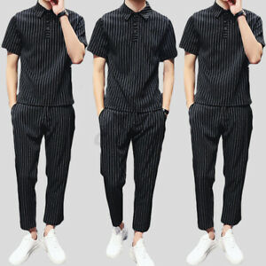 Mens Striped Short Sleeve Set Shirts Long Pants Casual Holiday Formal Outfits AU