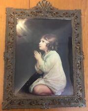 Vintage Ornate GIRL PRAYING Glass Bubble Convex Print Metal Frame Italy Art