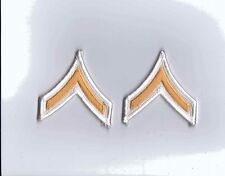 ARMY CHEVRONS, GOLD EMBROIDERED ON WHITE, PRIVATE, FEMALE, PAIR, NEW NOT IN PAC
