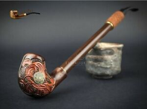 "UNIQUE HAND CARVED WOODEN TOBACCO SMOKING PIPE NORDIC 13"" CHURCHWARDEN LONG"