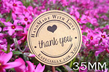20x THANK YOU HAND MADE Cookie Birthday Seal Sticker Kraft Cake Party Label 35mm