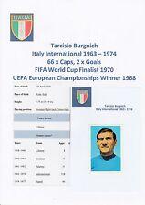 Tarcisio BURGNICH ITALIA INT 1963-1974 originale firmato a mano F.K.S. Adesivo (USATI)