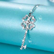 925 silver pendant simulated diamond heart key chain necklace 38cm