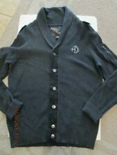Men's Helix Button down Vintage Cardigan Sweater Heavy weight size L Charcoal